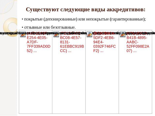 Существуют следующие виды аккредитивов: • покрытые (депонированные) или непок...