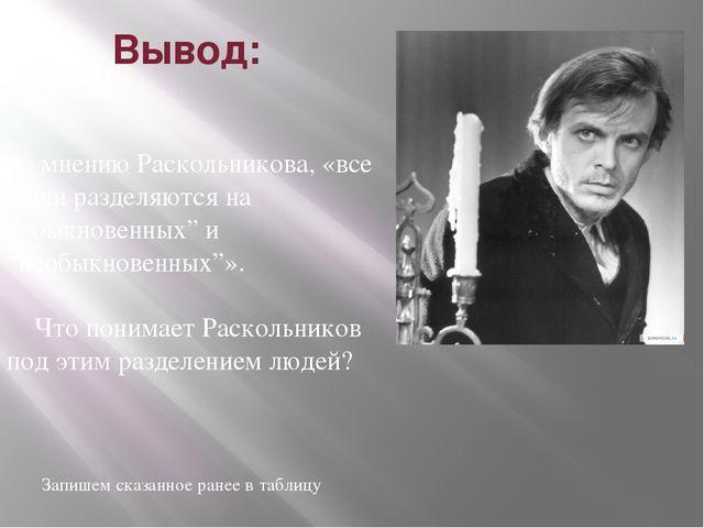 """Вывод:  по мнению Раскольникова, «все люди разделяются на """"обыкновенных"""" и """"..."""