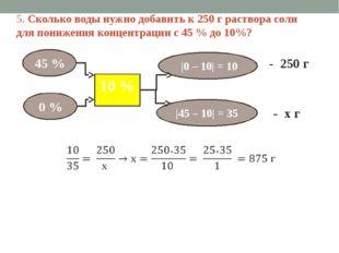 5. Сколько воды нужно добавить к 250 г раствора соли для понижения концентрац