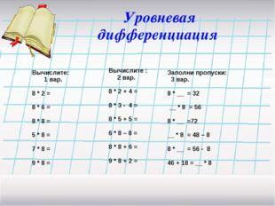 Уровневая дифференциация Вычислите: 1 вар. 8 * 2 = 8 * 6 = 8 * 8 = 5 * 8 = 7