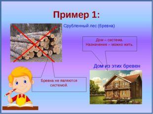 Пример 1: Срубленный лес (бревна) Дом из этих бревен Дом – система. Назначени