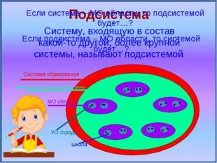 Подсистема Систему, входящую в состав какой-то другой, более крупной системы,