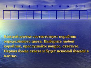 Каждой клетке соответствует кораблик определённого цвета. Выберите любой кора