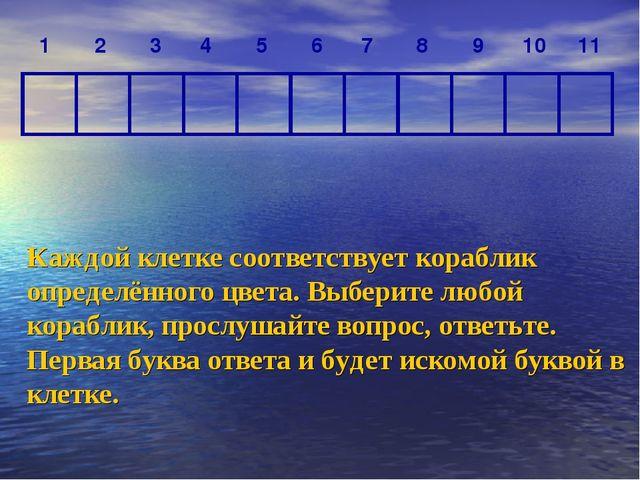 Каждой клетке соответствует кораблик определённого цвета. Выберите любой кора...
