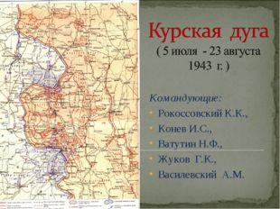 Командующие: Рокоссовский К.К., Конев И.С., Ватутин Н.Ф., Жуков Г.К., Василев