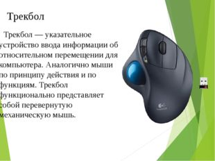 Трекбол — указательное устройство ввода информации об относительном перемещ