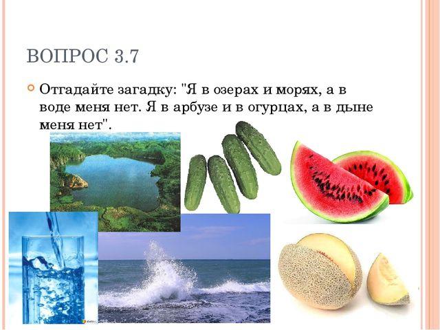 """ВОПРОС 3.7 Отгадайте загадку: """"Я в озерах и морях, а в воде меня нет. Я в арб..."""