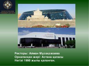 Ректоры: Айман Мұсақожаева Орналасқан жері: Астана қаласы Негізі 1998 жылы қа