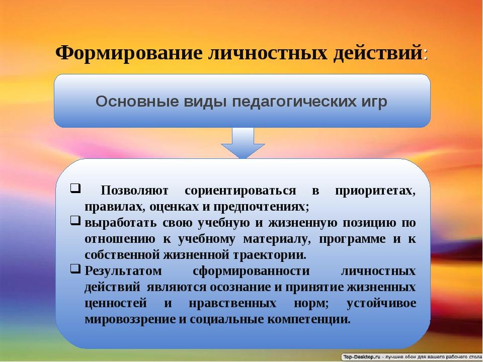 Формирование личностных действий: Основные виды педагогических игр Позволяют...