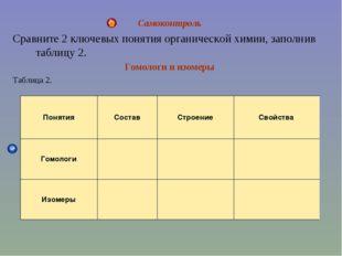 Самоконтроль Сравните 2 ключевых понятия органической химии, заполнив таблицу