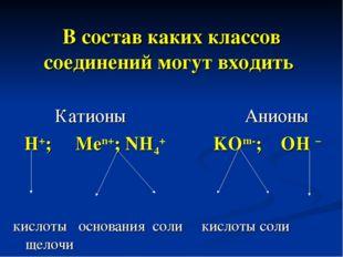 В состав каких классов соединений могут входить Катионы Анионы H+; Men+; NH4+