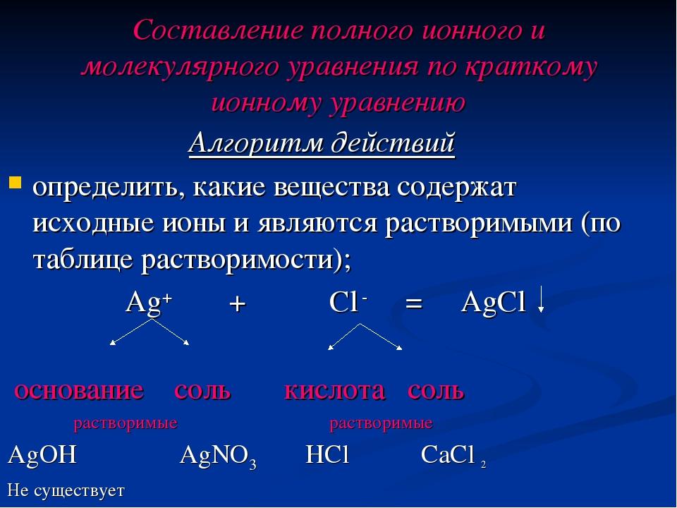 Составление полного ионного и молекулярного уравнения по краткому ионному ура...