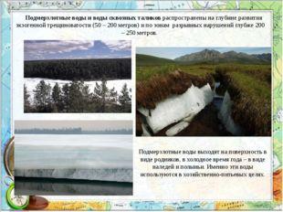 Подмерзлотные воды и воды сквозных таликов распространены на глубине развития