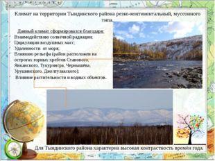 Климат на территории Тындинского района резко-континентальный, муссонного тип