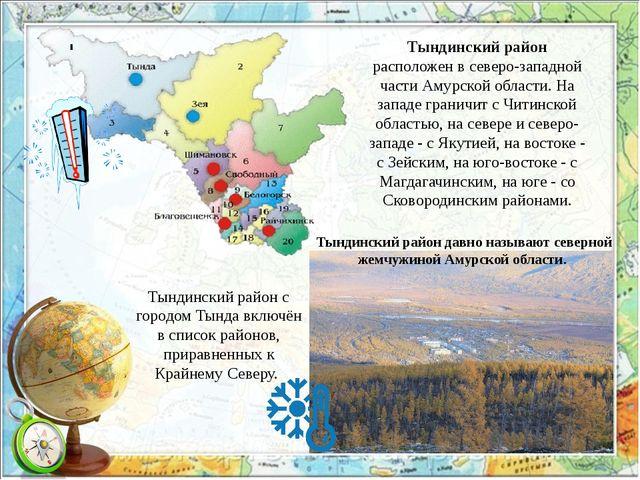 Тындинский район расположен в северо-западной части Амурской области. На запа...