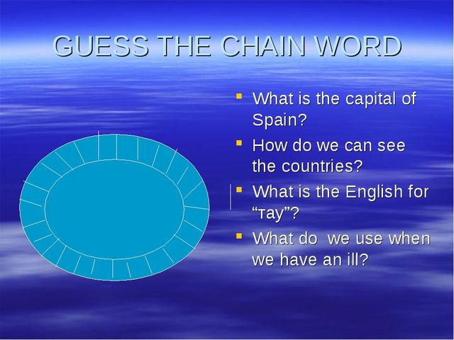 GUESS THE CHAIN WORD What is the capital of Spain? How do we can see the coun...