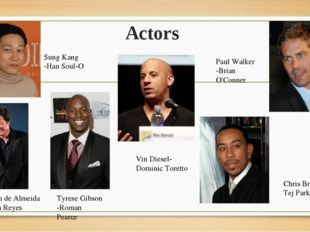 Actors Vin Diesel- Dominic Toretto Paul Walker -Brian O'Conner Tyrese Gibson