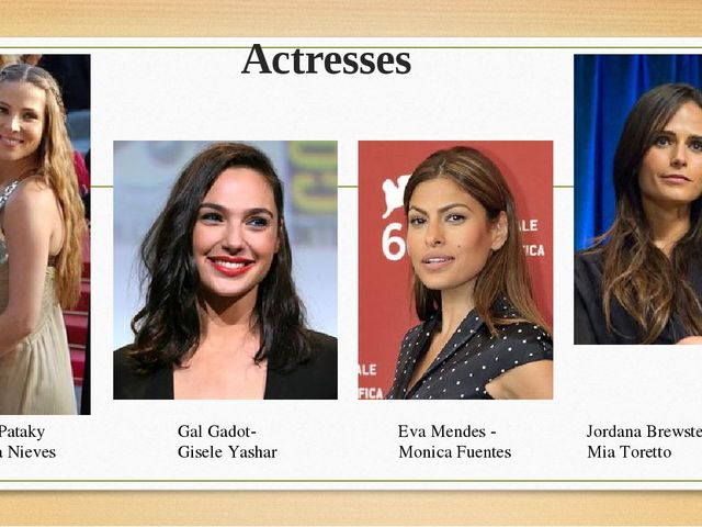 Actresses Jordana Brewster- Mia Toretto Gal Gadot- Gisele Yashar Elsa Pataky...