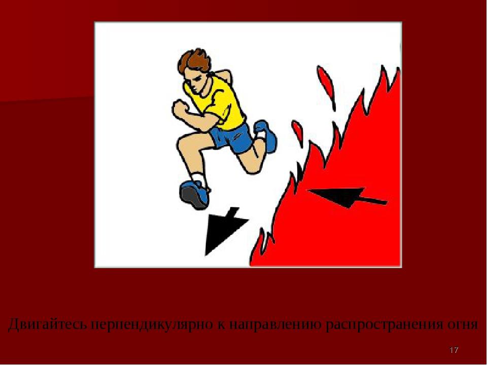Двигайтесь перпендикулярно к направлению распространения огня *