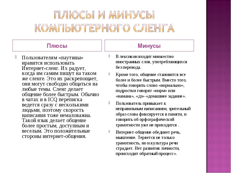 Плюсы Минусы В лексикон входит множество иностранных слов, употребляющихся бе...