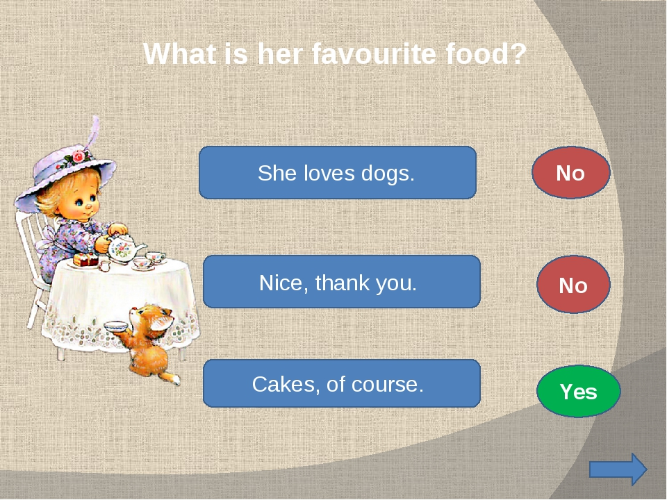 What is her favourite food? She loves dogs. Nice, thank you. Cakes, of cours...