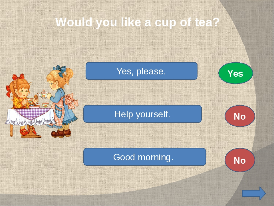 Would you like a cup of tea? Yes, please. Help yourself. Good morning. No No...