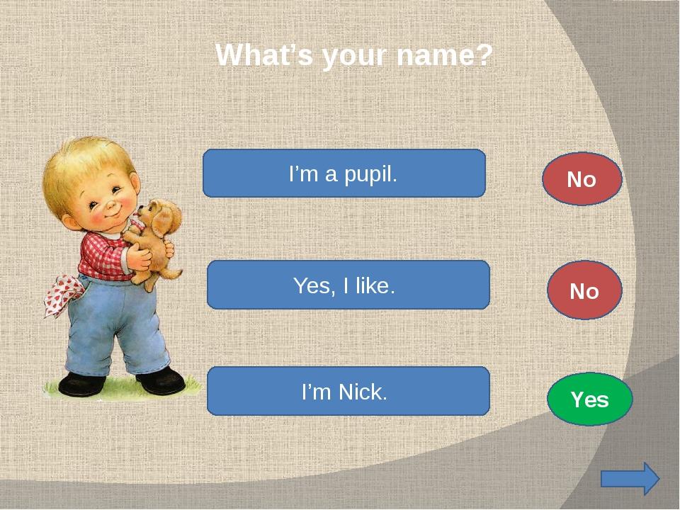 What's your name? I'm a pupil. Yes, I like. I'm Nick. No No Yes