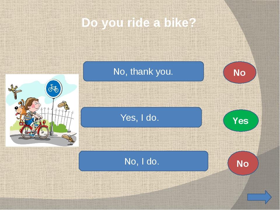 Do you ride a bike? No, thank you. Yes, I do. No, I do. No No Yes