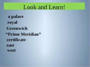 "Look and Learn! a palace royal Greenwich certificate east ""Prime Meridian"" west"