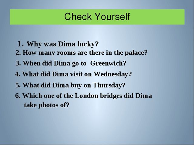 Check Yourself 1. Why was Dima lucky? 2. How many rooms are there in the pala...