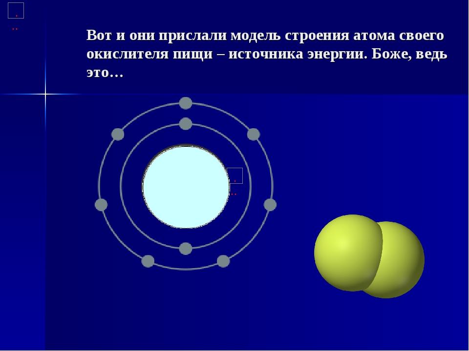 Вот и они прислали модель строения атома своего окислителя пищи – источника э...