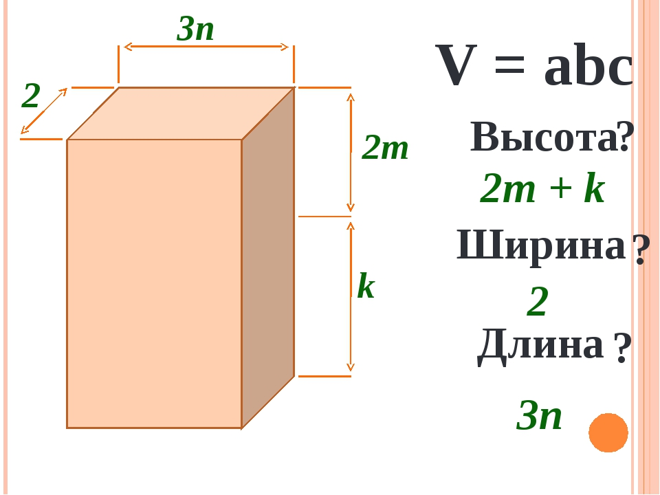 3n 2 k 2m V = abc Высота ? 2m + k Ширина ? 2 Длина ? 3n