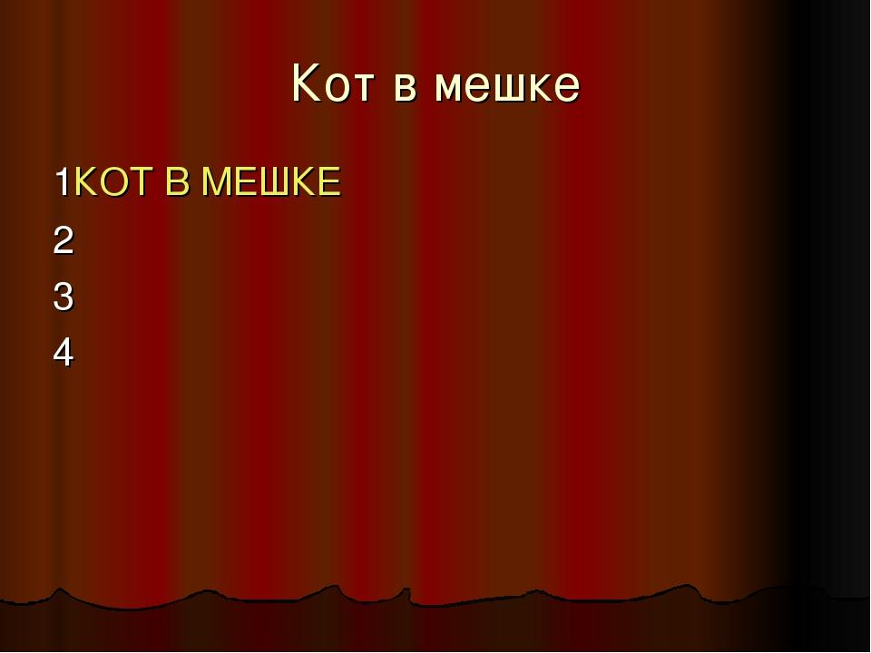 Кот в мешке 1КОТ В МЕШКЕ 2 3 4