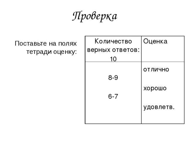 Проверка Поставьте на полях тетради оценку: Количество верных ответов: 10 8-9...
