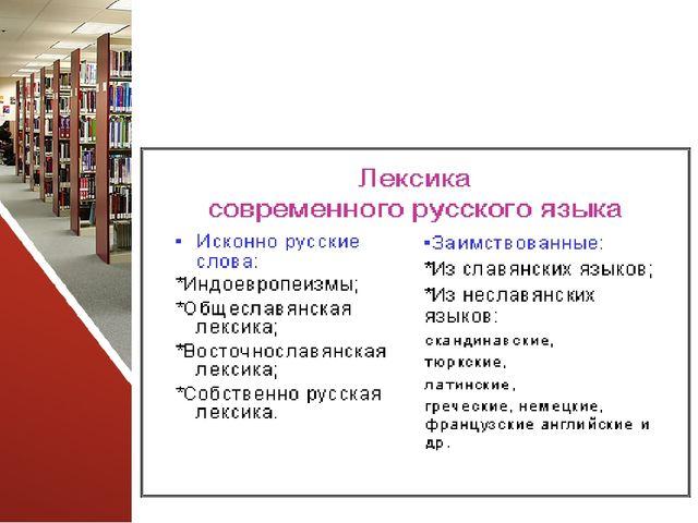 Состав русской лексики с точки зрения ее происхождения