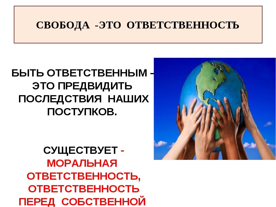 СВОБОДА -ЭТО ОТВЕТСТВЕННОСТЬ БЫТЬ ОТВЕТСТВЕННЫМ – ЭТО ПРЕДВИДИТЬ ПОСЛЕДСТВИЯ...
