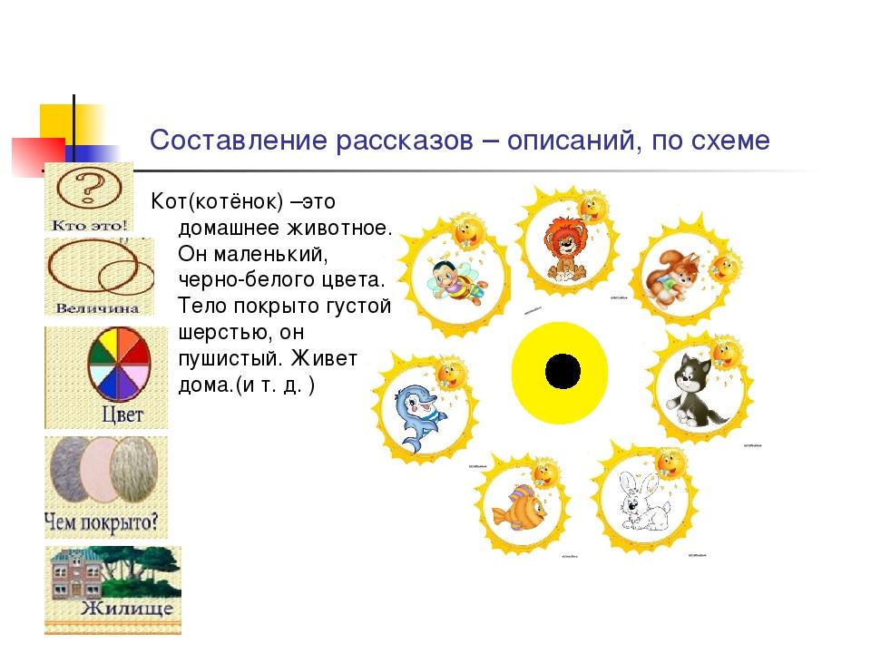 Составление рассказов – описаний, по схеме Кот(котёнок) –это домашнее животно...