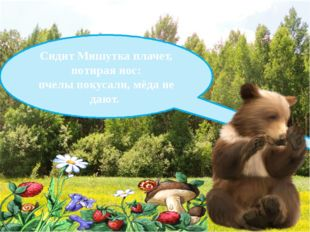 Сидит Мишутка плачет, потирая нос: пчелы покусали, мёда не дают.