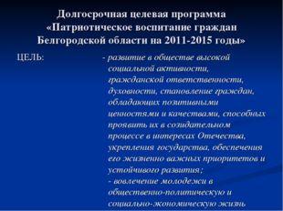 Долгосрочная целевая программа «Патриотическое воспитание граждан Белгородско
