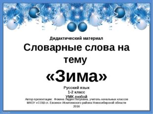 Дидактический материал Словарные слова на тему «Зима» Русский язык 1-2 класс