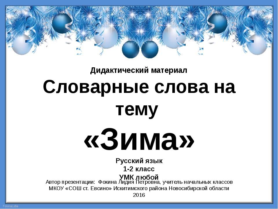 Дидактический материал Словарные слова на тему «Зима» Русский язык 1-2 класс...