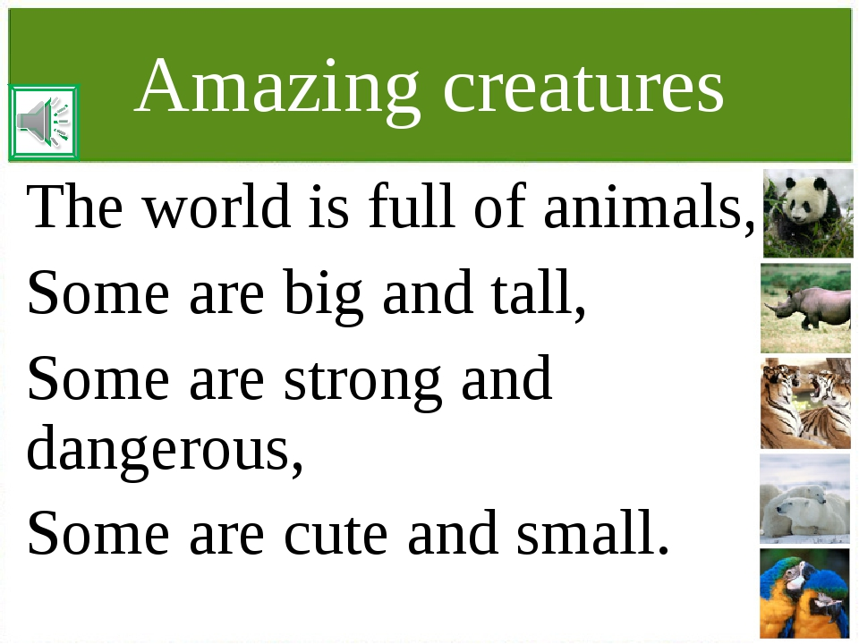 Amazing creatures The world is full of animals, Some are big and tall, Some a...