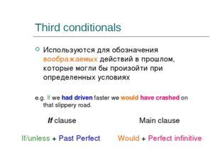 Third conditionals Используются для обозначения воображаемых действий в прошл
