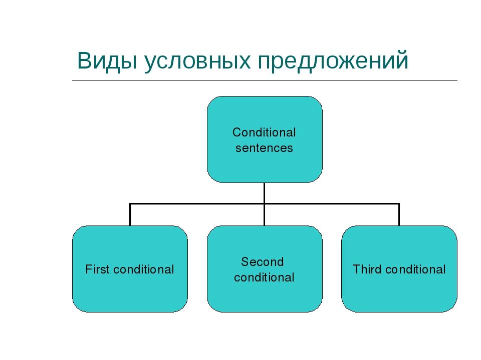 Виды условных предложений