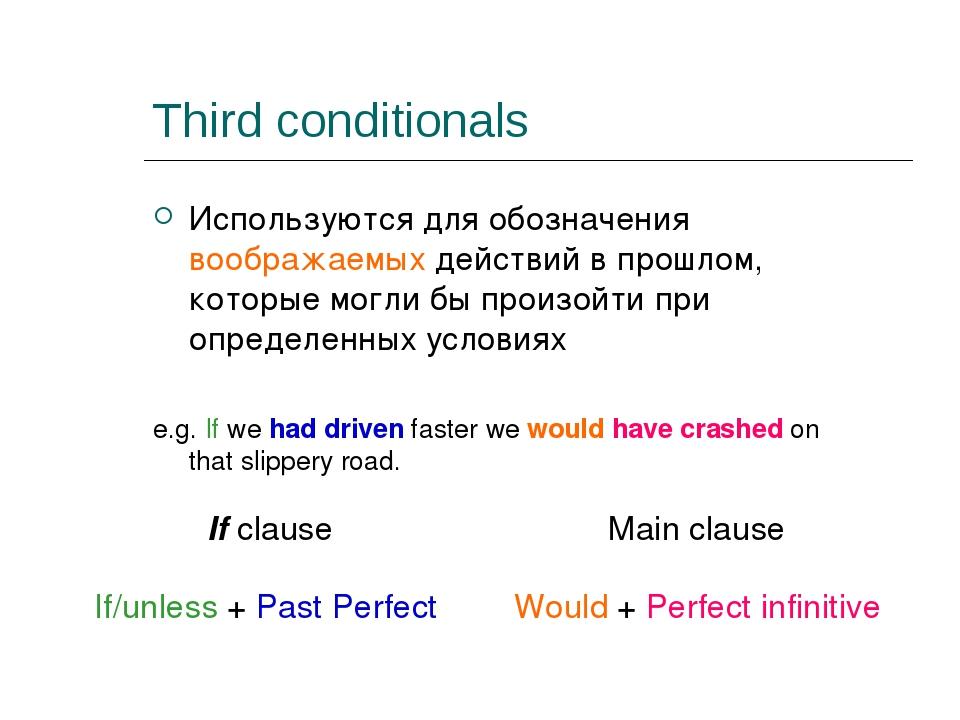 Third conditionals Используются для обозначения воображаемых действий в прошл...