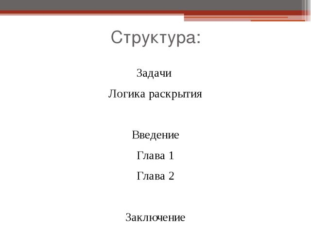 Структура: Задачи Логика раскрытия Введение Глава 1 Глава 2 Заключение Список...