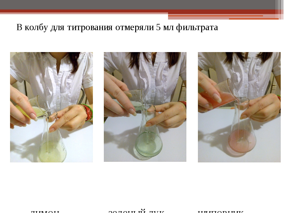 В колбу для титрования отмеряли 5 мл фильтрата лимон зеленый лук шиповник