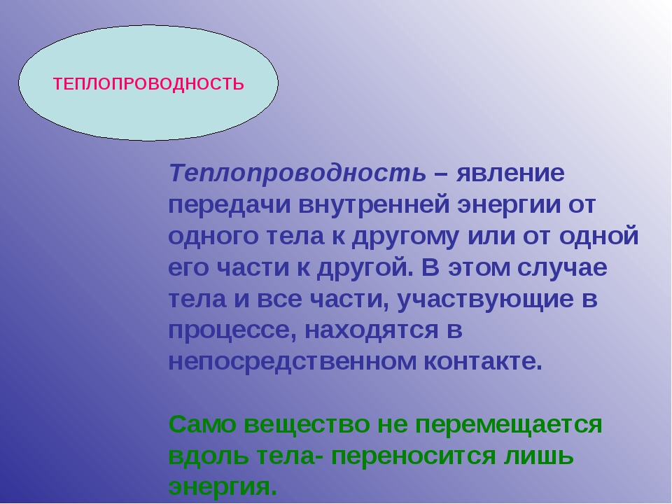 ТЕПЛОПРОВОДНОСТЬ Теплопроводность – явление передачи внутренней энергии от од...