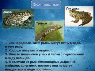 1. Земноводные, как и рыбы могут жить в воде, мечут икру. 2. Хорошо плавают и
