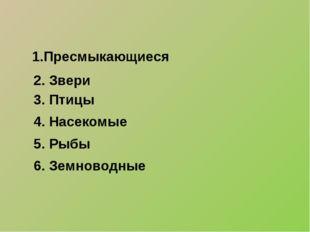 1.Пресмыкающиеся 2. Звери 3. Птицы 4. Насекомые 5. Рыбы 6. Земноводные